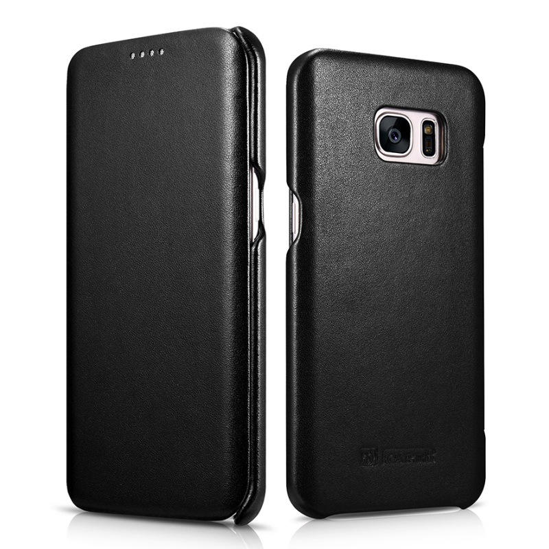 imágenes para ICARER para Galaxy S 7 Cubierta de Cuero borde Bolso de Cuero Genuino caso con el Encierro Magnético para Samsung Galaxy S7 Borde G935-negro