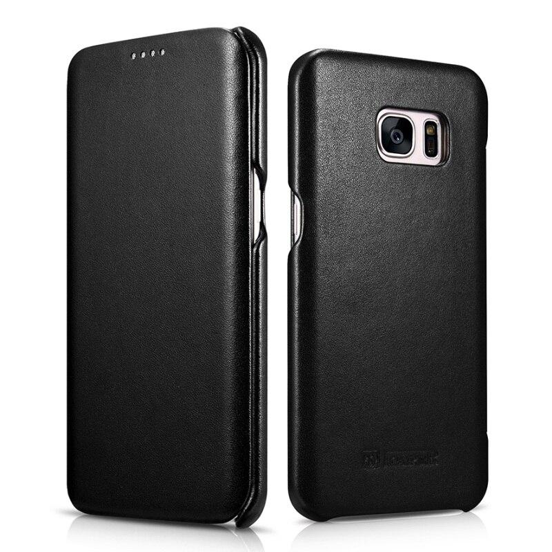 Цена за ICarer для Galaxy S 7 Edge кожаный чехол сумка натуральная кожа чехол с магнитной застежкой для Samsung Galaxy S7 край G935 -черный