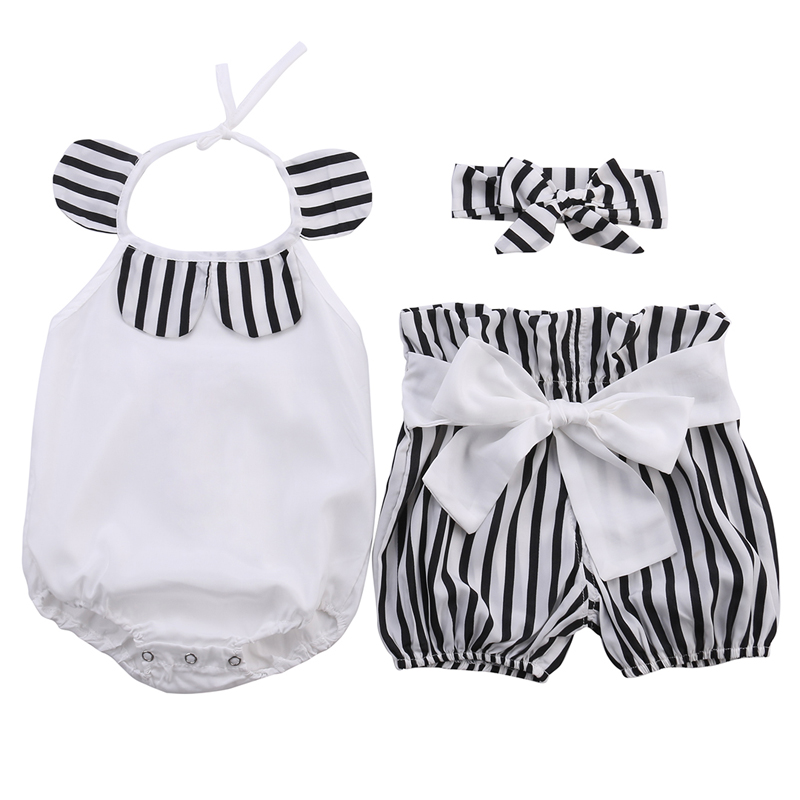 Cute Kids Baby Girl Clothes Striped Romper Tops+Striped Shorts Bottoms Outfits Sunsuit