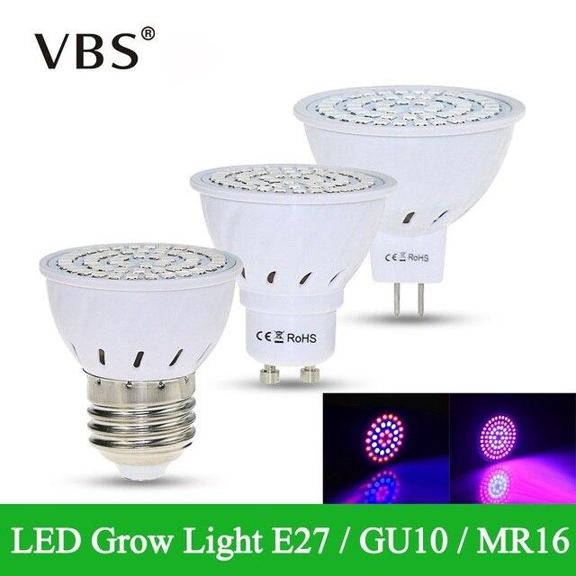 10 шт. E27 растут светодио дный свет 2835SMD 220 В полный спектр светодио дный растут E27 GU10 MR16 для гидропоники цветы растений овощи