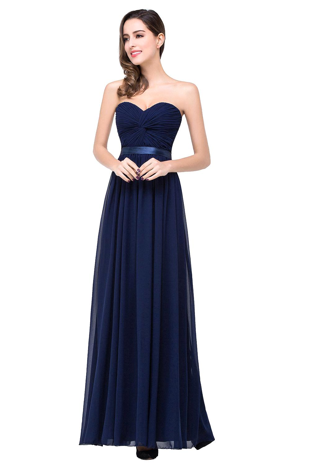 Compare prices on long navy chiffon bridesmaid dresses online cheap price under 40 real samples sexy sweetheart navy blue long chiffon bridesmaid dresses 2017 ruched ombrellifo Image collections