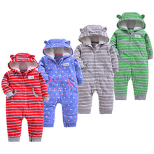 Newborn Baby Rompers Fleece Padded Thicken Warm Girls Clothing Set Autumn Cartoon Toddler Hooded Clothes Unisex Infant Jumpsuits floral winter thicken newborn baby clothes warm kids girl clothing set rompers hats princess girls jumpsuits outerwear