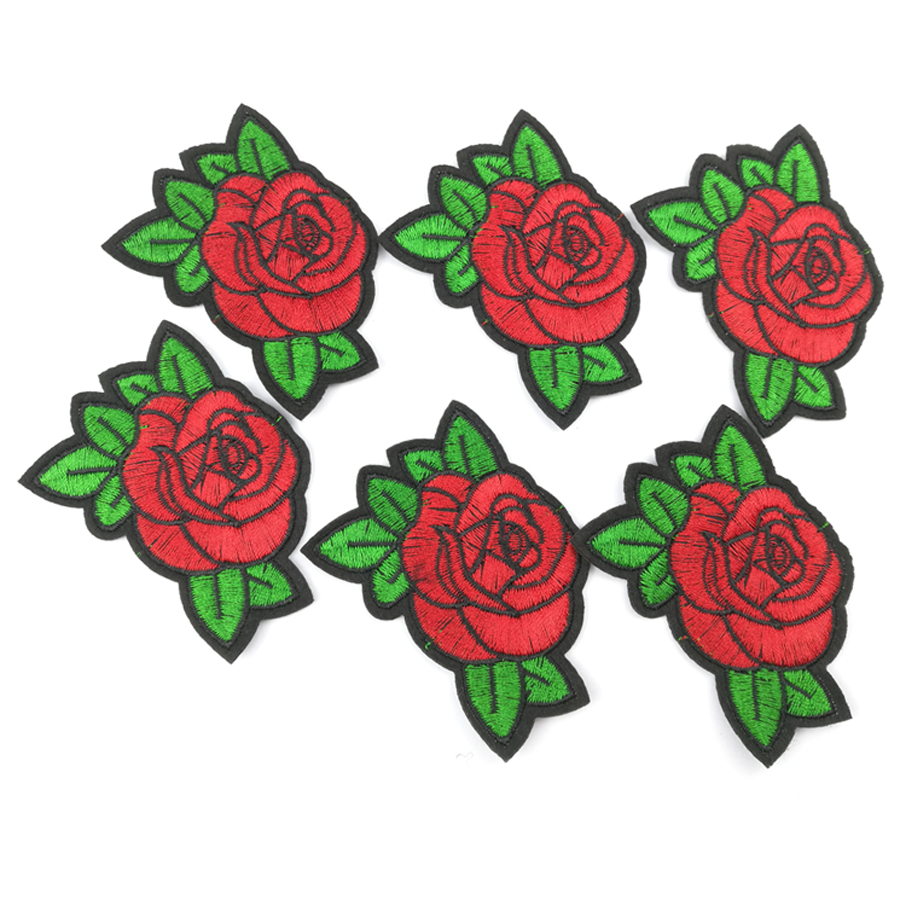 6Pcs//Set Mix Small Rose w//leaf Embroidered iron on patches flower lot Appliques