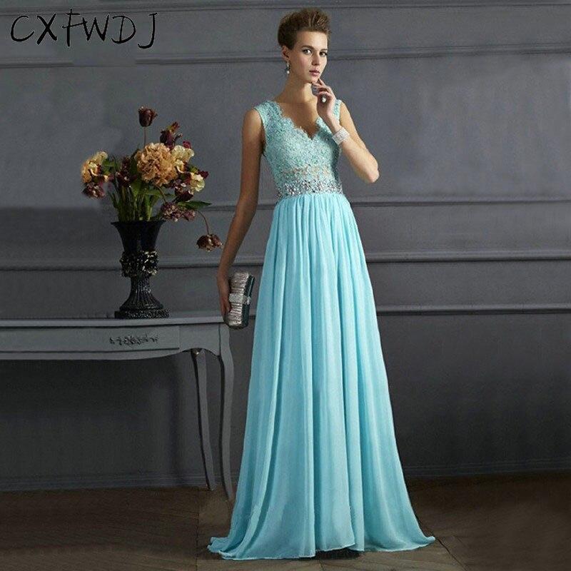 2017 Nouvelle Soirée Robes Longues Vintage Sexy Jolie V Cou Dos Nu Lacey De Mariage Événements Bleu À Paillettes de Plancher-Longueur Robes robe