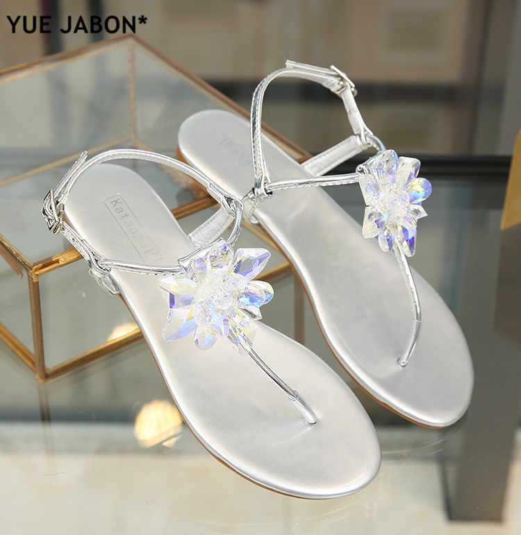 ... 2018 shoes woman sandals women Rhinestones Chains Flat Sandals plus size  Thong Crystal Flip Flops sandals ... 5cafb58774d0