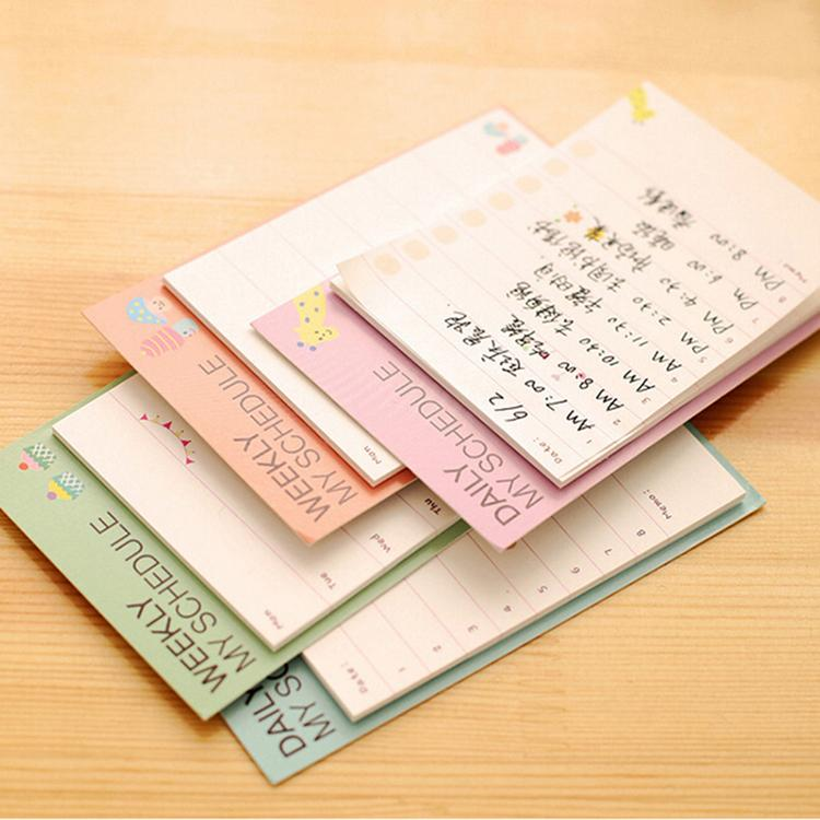Desk weekly daily planner cartoon sticky notes stickers paper korean stationery to do list office supplies in memo pads from office school supplies on