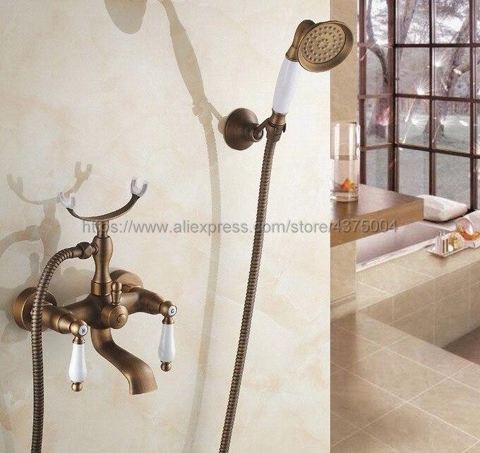 Здесь можно купить  Antique Brass Bath Tub Faucet Ceramic Handle & Handheld Shower Head Faucet Bathtub faucet set shower faucet set Ntf156  Строительство и Недвижимость