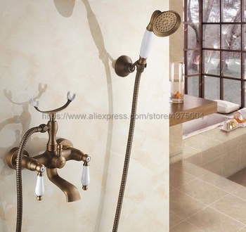Antique Brass Bath Tub Faucet Ceramic Handle & Handheld Shower Head Faucet Bathtub faucet set shower faucet set Ntf156 antique red copper bathroom clawfoot bath tub faucet bathtub handheld shower faucet mixer tap with shower head holder nna364