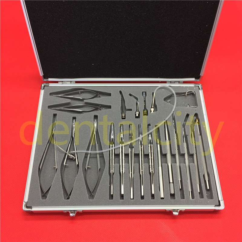 21pcs /SET Stainless steel Ophthalmic Cataract Eye Micro Surgery Surgical Instruments childhood cataract