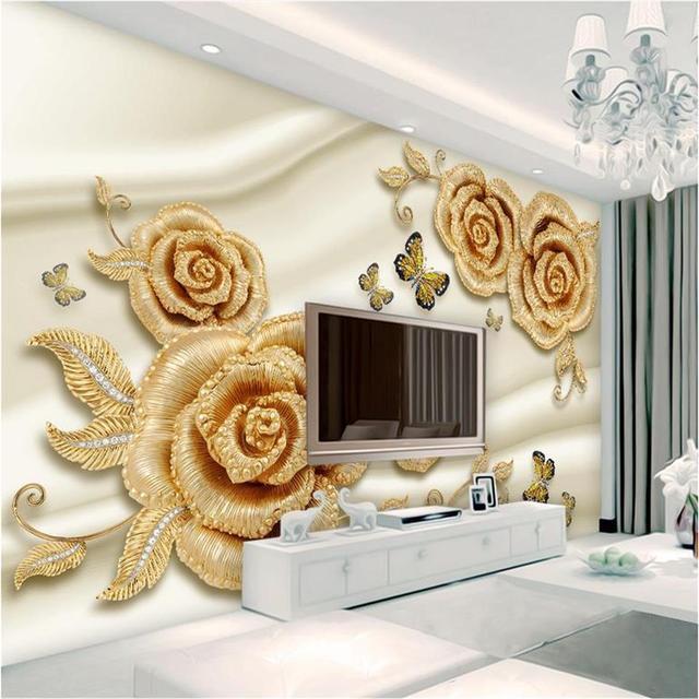 custom 3d photo wallpaper living room mural golden rose diamond 3d painting TV sofa background non-woven wallpaper for wall 3d