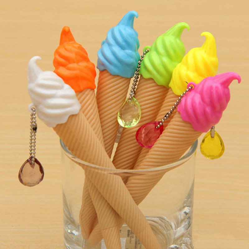 4 pcs/lot 12 Colors Cute Kawaii Crystal Diamond Gel Pen Creative Ice Cream Plastic Pens Korean Stationery Student 3951