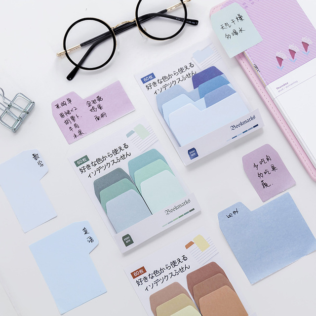 Cute Kawaii Memo Pad Sticky Notes Stationery Sticker Gradient index Posted It Planner Stickers Notepads Office School Supplies 1