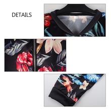 Black Retro Floral Print Women Short Spring Jacket O-Neck Long Sleeve Slim Women Bomber Jacket Plus Size Thin Zipper Jacket
