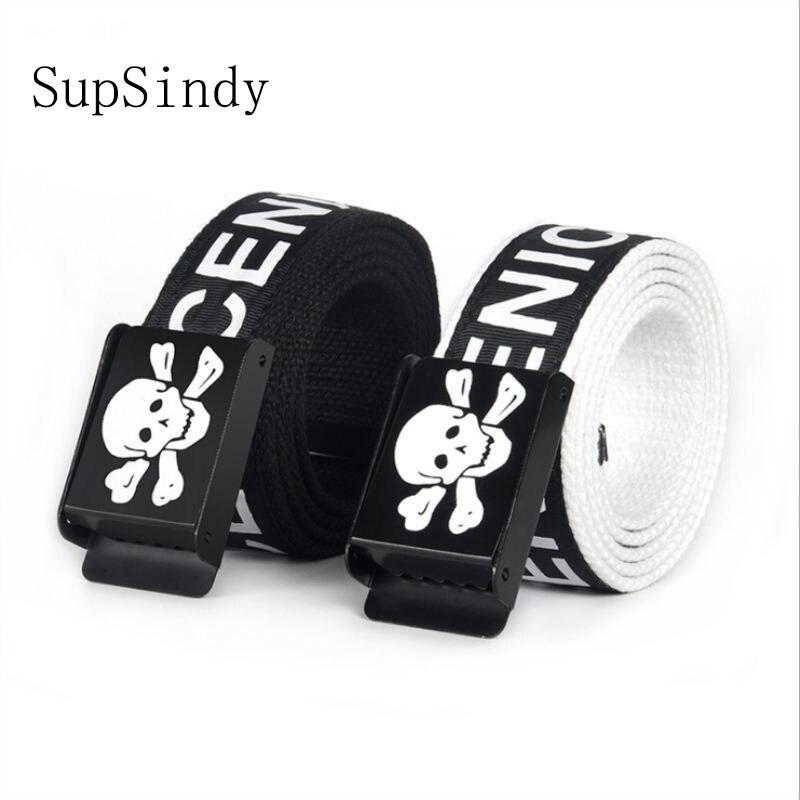 SupSindy Unisex Plain Webbing Waistband Casual Canvas Belt metal buckle Men Women Boys Jeans belts skull Top quality black 110cm