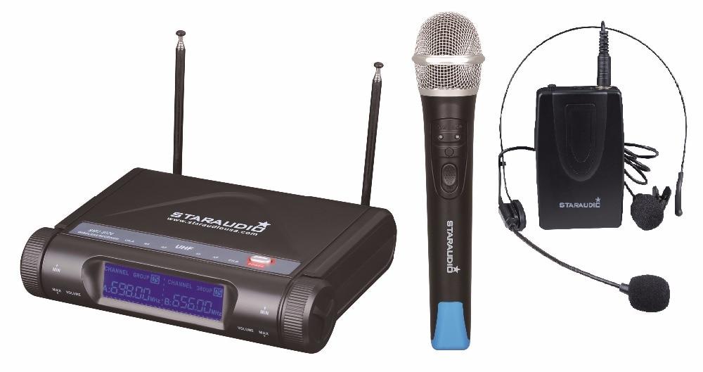 STARAUDIO SMU-2020A+B 2CH Pro UHF Wireless  Dual Handheld and Headset Microphone System Mic staraudio uhf professional wireless pro 2channel dual dj handheld microphones system mic smu 2020a