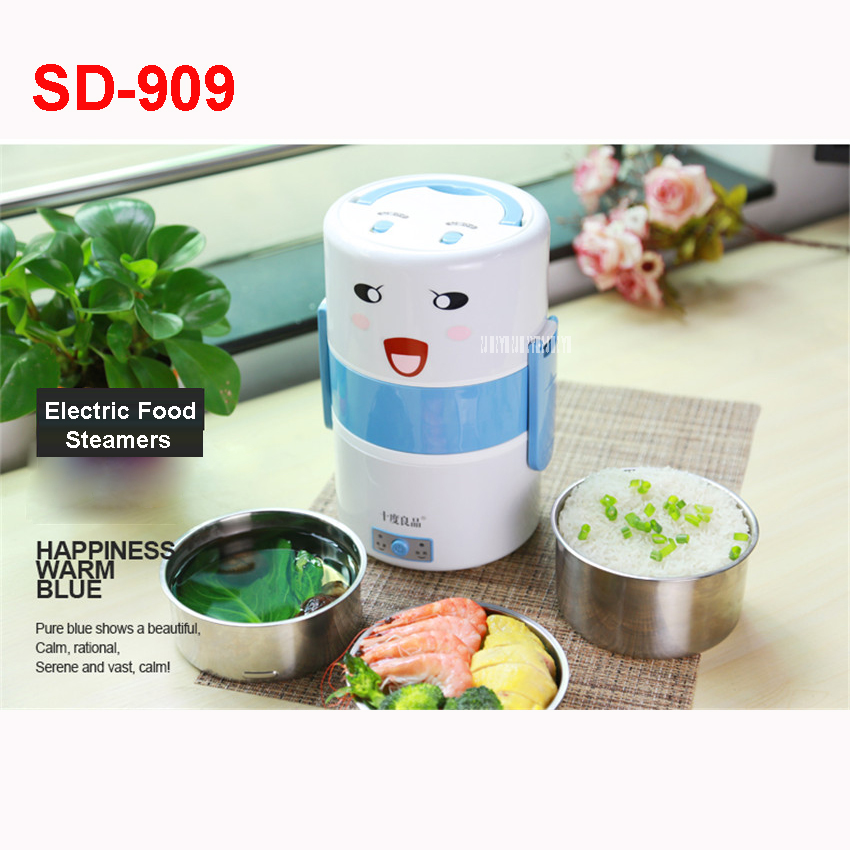 sd909 220v50hz electric food steamer household three layers 304 stainless steel