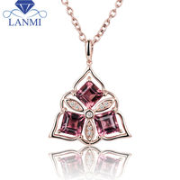 Princess cut 4.5mm Natural Tourmaline Necklace Pendant In 18K Rose Gold For Beautiful Girl WP066