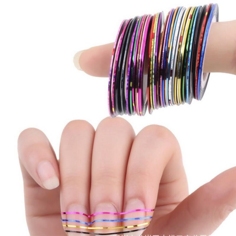All For Nail 30Pcs Striping Tape Line Nail Art Decoration Sticker DIY Nail Stickers Mix Color Rolls