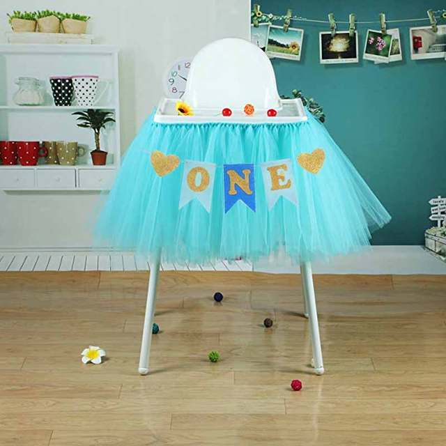 Placeholder Glitter One Banner Pennant High Chair Baby Shower Kids Boys Girls First Birthday Party Highchair Decoration
