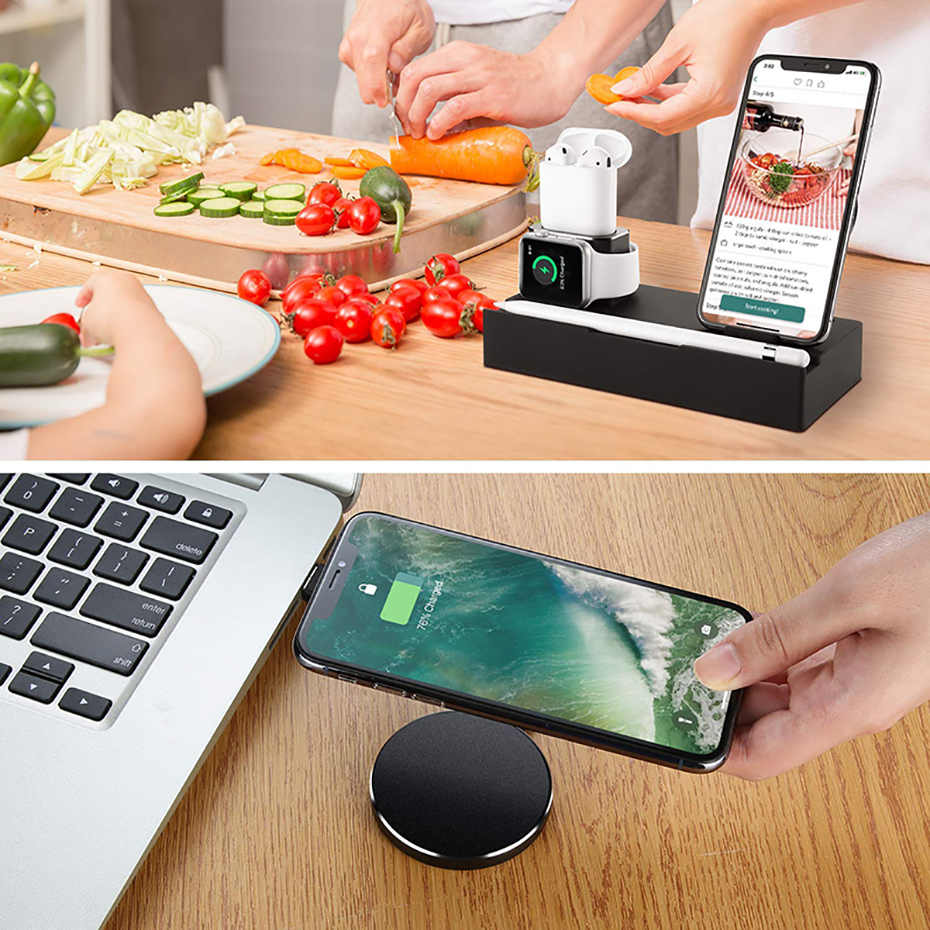 Multi Function Nightstand QI Wireless Charger For Iphone  Samsung Charger Stand For Airpods Apple Watch USB Charger Dock Station (3)