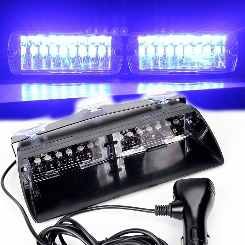 48W Windshield Led Strobe Light Viper Car Flash Signal Fireman Police Beacon Warning Light Blue Led Emergency Vehicle Lights strobe light flash emergency light windshield light s2 led emgergency strobe police flash light