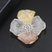 43*45mm Luxury Women Brooches Dubai Indian Full Cubic Zirconia Inlaid Fashion Jewelry For Women Daily Wearing