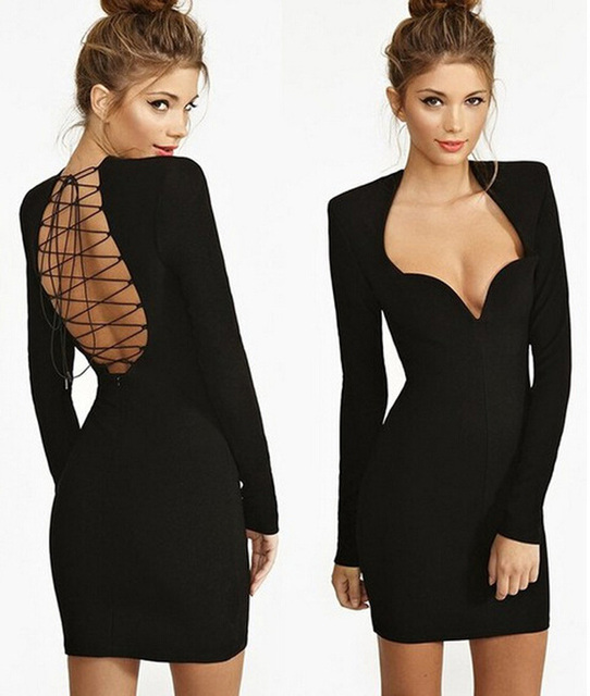 New Fashion Black Hot Sexy Sweetheart Bodycon Mini Fashion Evening Party  Bandage Dress Long Sleeve Backless Sexy Vestidos eec29ae0e687