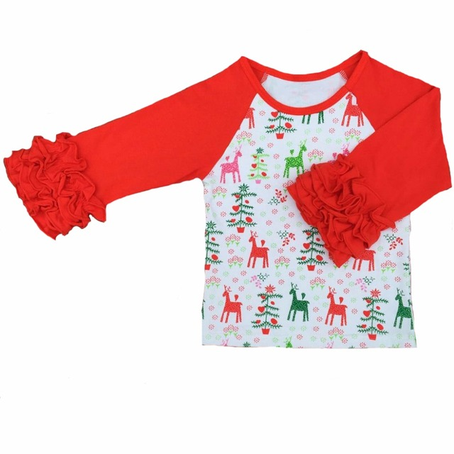 personalized girls christmas outfit ruffled shirts ruffle cuff sleeve raglan t shirt girls monogram - Girls Christmas Shirts