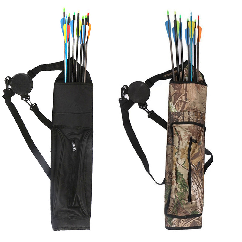 Archery Arrow Quiver Large Capacity Archery Hunting Arrow Holder Belt Bag Arrows Bow Quiver Single or Shoulder Arrow Bag bow quiver arrow with 12pics arrows fiberglass telescopic quiver tube canister for compound bow archery arrows