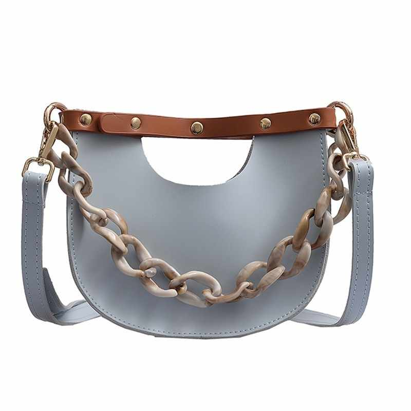 Casual Women Acrylic Handbag Quality Leather Rivet Shouler Bags Solid Color Semicircular Messenger Bags Ladies Shipping Bags