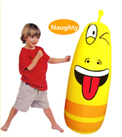 1 15M Inflatable Boxing Tumbler Roly Poly Punching Bag Sports Yellow Larva Worm For Kids Christmas