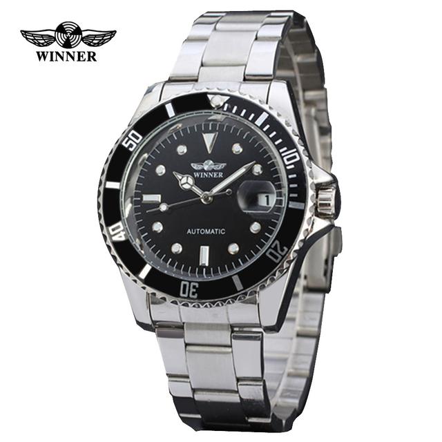 Relogio masculino Marca de Luxo Vencedor Strap Analógico Data de Aço Inoxidável Relógio Automático dos homens Casual Homens Relógio de Pulso