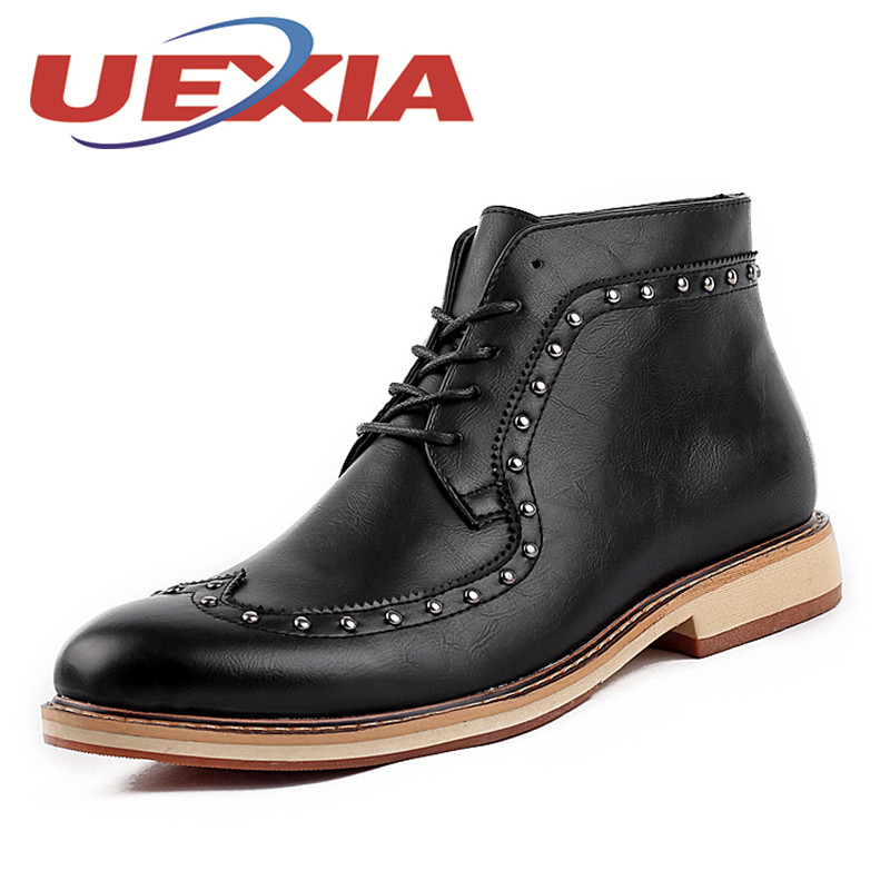 Fashion Men Leather High Boots Spring Autumn Ankle Boots Men Comfortable Brogue Shoes Mens Casual Male Pointed-Toe Dress Boots 2016 autumn and winter fashion high top shoes male pointed toe leather casual shoes men s ankle boots