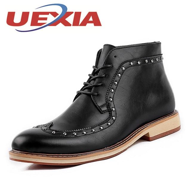 Lente Lederen Enkellaarsjes Laarzen Mode Herfst Hoge Mannen 60xOZnO