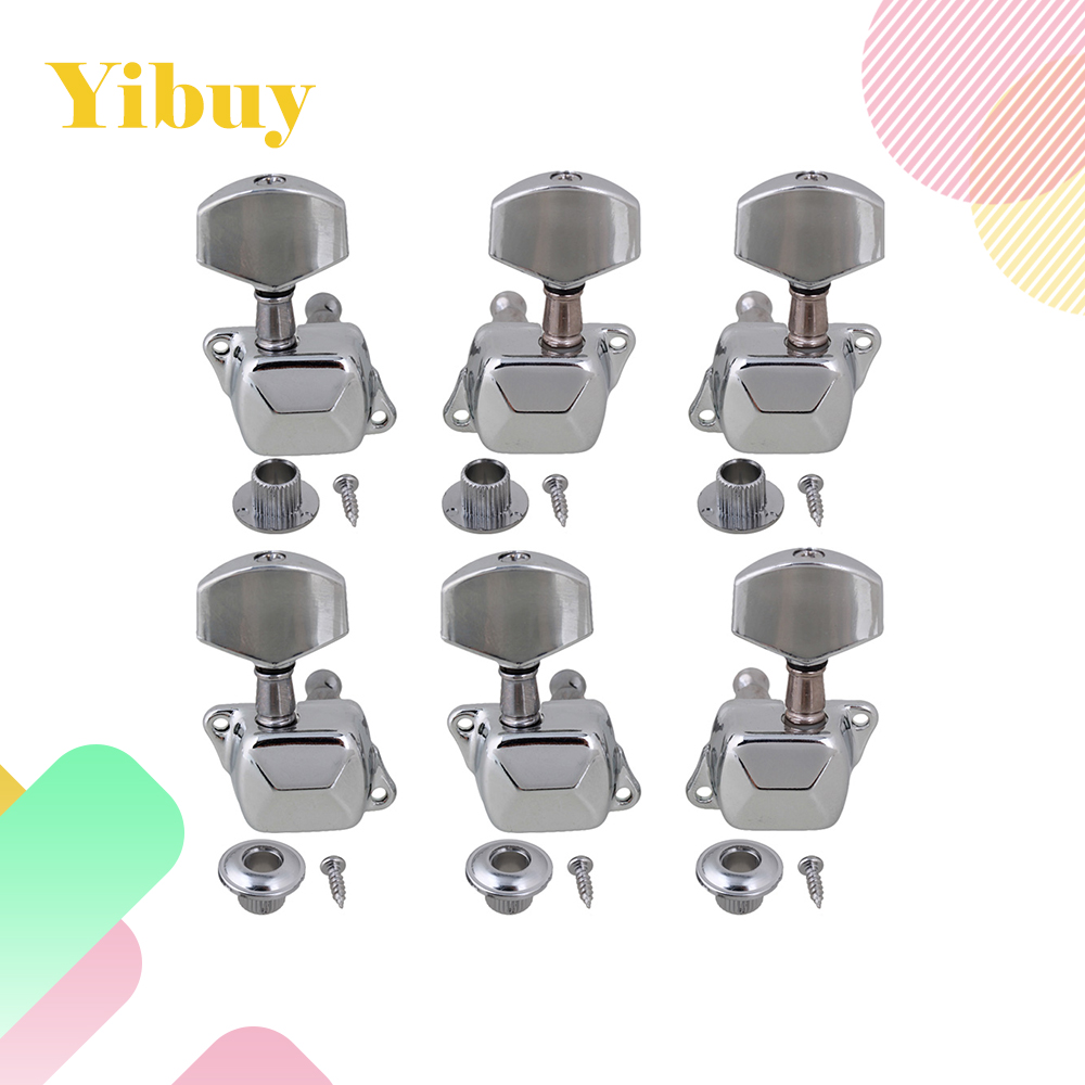 Yibuy Chrome Semiclosed Acoustic Guitar Tuning Pegs Machine Heads 3L3R
