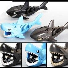 Дикие животные акулы Белый Тигр Леопард Пума Черная пантера фигурки строительные блоки кирпичи Детские обучающие игрушки для детей