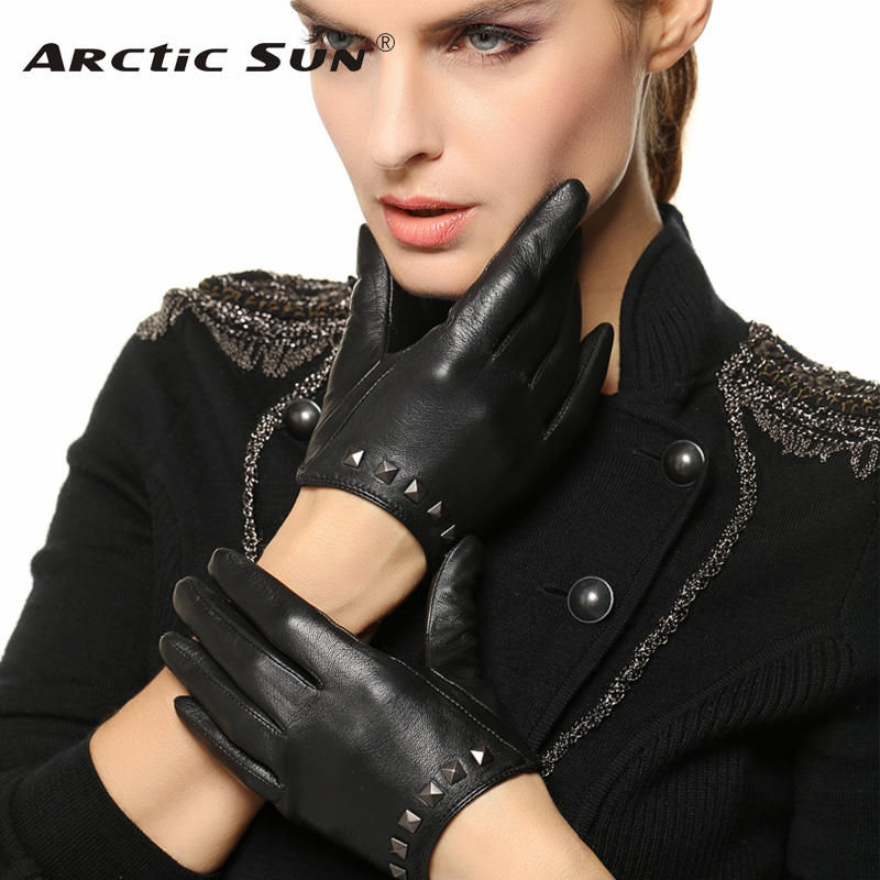 2020 Special Offer Women Gloves Wrist Rivet Sheepskin Glove Female Thin Genuine Leather Hip-hop Lambskin Driving Limited L096NN