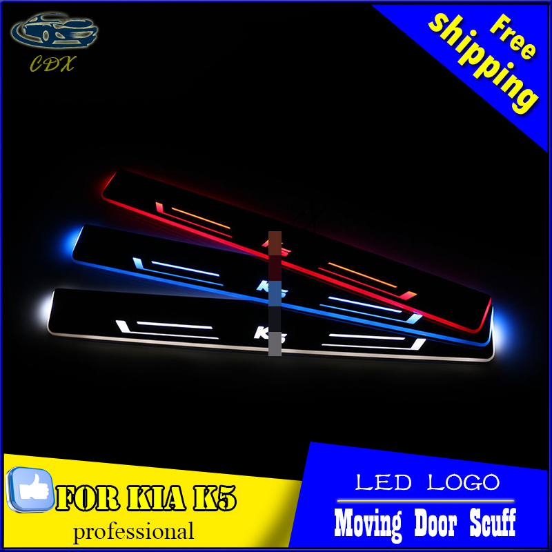 Car Styling Welcome pedal Door Sills Moving Scuff Plate Light Panel LED Light Dynamic Rubbing Strip For KIA K5 2015 2016