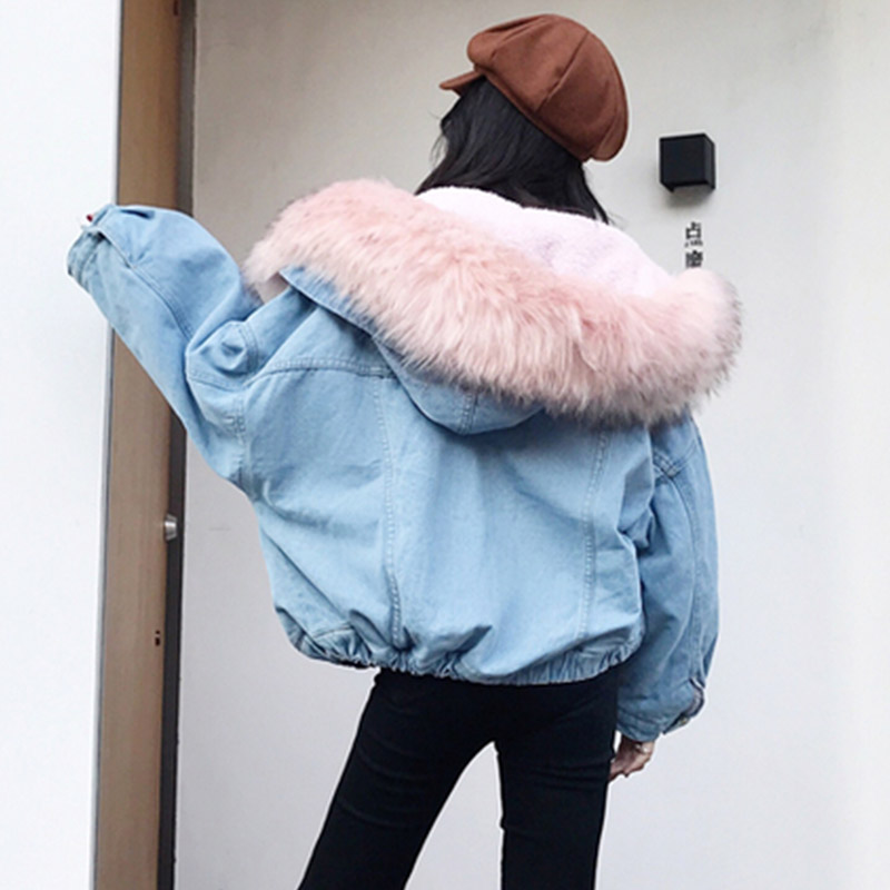 2019 New Warm Winter Bomber Women Spring Autumn Hooded Coat Jeans Denim   Jackets     Basic   Ladies Top Windbreaker Female Large