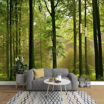 Custom 3D Photo Wallpaper Forest Green Tree Nature Landscape Mural Wall Paper For Living Room Bedroom Background Wall Painting green plant forest 3d stereo tv background wall professional production mural custom photo wall
