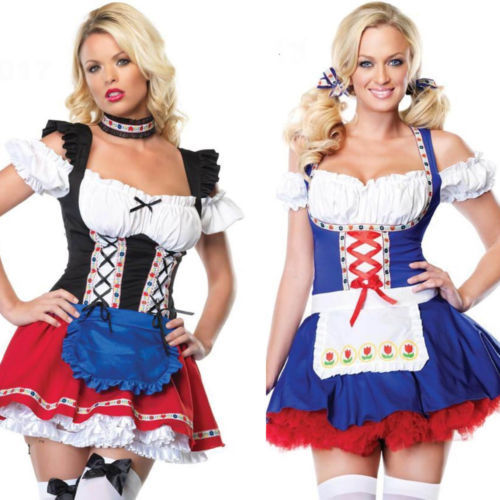 Sexy German Dutch Beer Girl Adult Costume Dress Up Maid Halloween Cosplay Blue