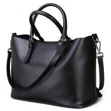 Fashion Women Real Genuine Leather Causual Tote Women Handbag Large Shoulder Bags Elegant Ladies Tote Sacthel Purse Bolsa Black