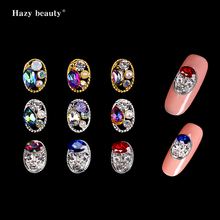 Nail Alloy Manicure Decoration Metal Oval Shape With Different Color Mixes Drop of Water Rhinestones Pearl NRY