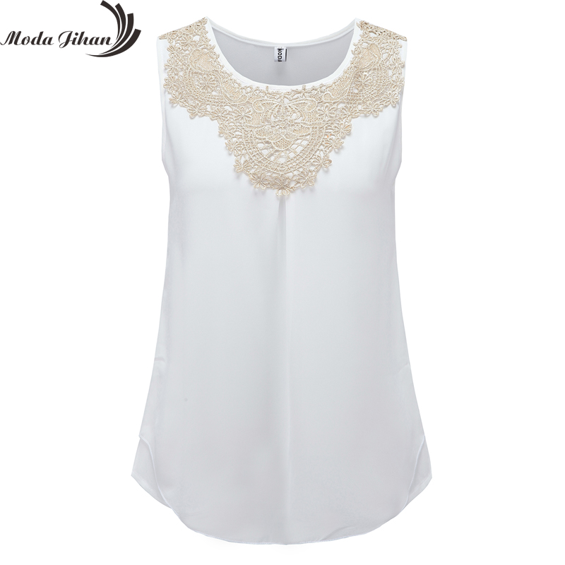 2015 Women Blouse Chiffon Folds Sleeveless Vest Fashion Clothing Women's Crochet Lace Blouse White Office Shirts Plus Size Blusa