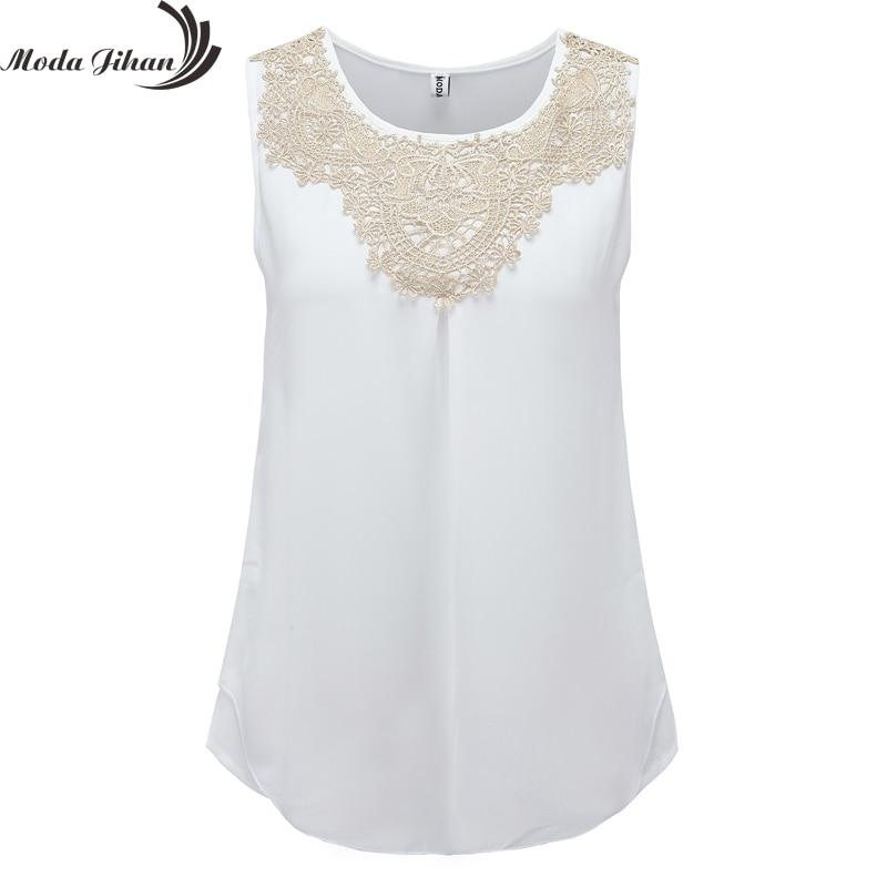 2015 Women Blouse Chiffon Folds Sleeveless Vest Fashion Clothing Women's Crochet Lace Blouse White Office Shirts Plus Size Blusa
