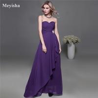 0210 Long Design Royal Blue Red Purple Chiffon One Shoulder Evening Gown Bridesmaid Dress