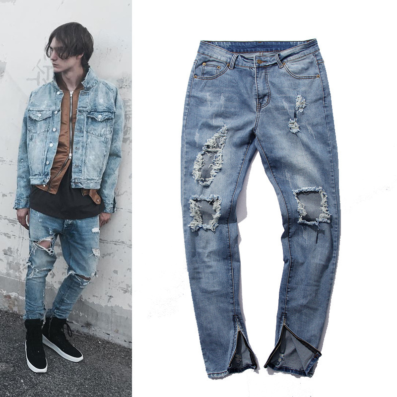 Mens BRAND Skinny Ripped Jeans Blue Distroyed Hole Ankle Zipper Pencil Jeans  KANYE WEST side zipper biker jeans pants men