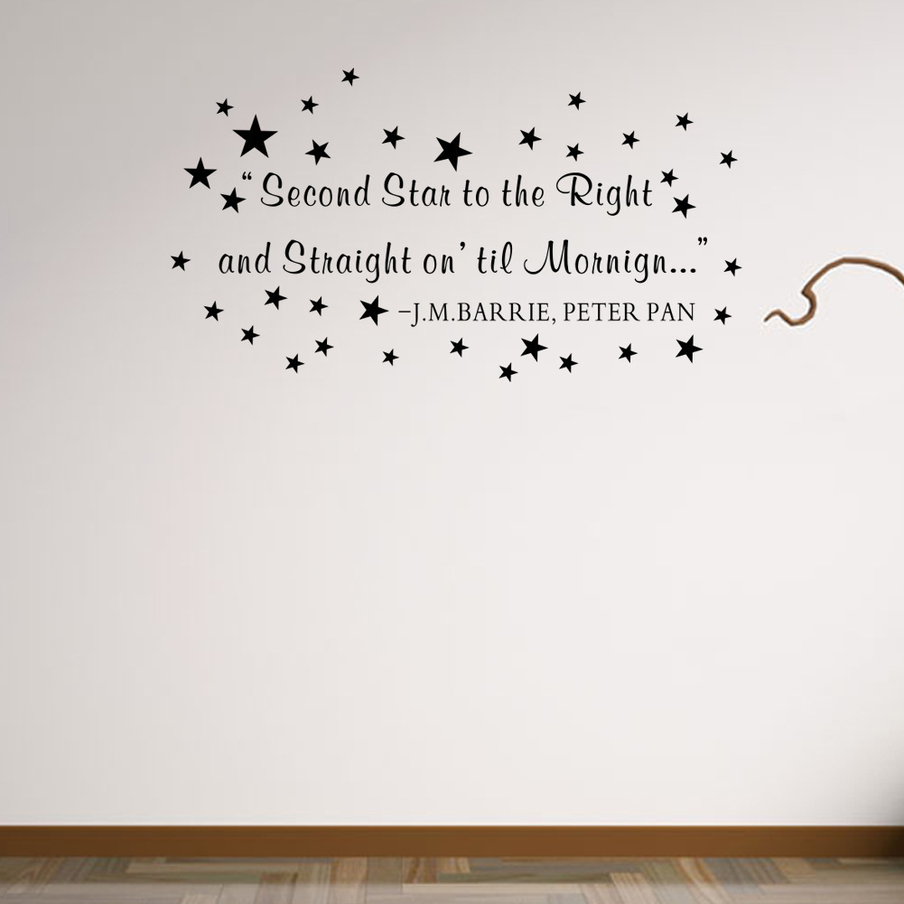 Letter quote wall decal second star to the right and straight on letter quote wall decal second star to the right and straight on till morning wall sticker for kids boys room decor in wall stickers from home garden on amipublicfo Gallery