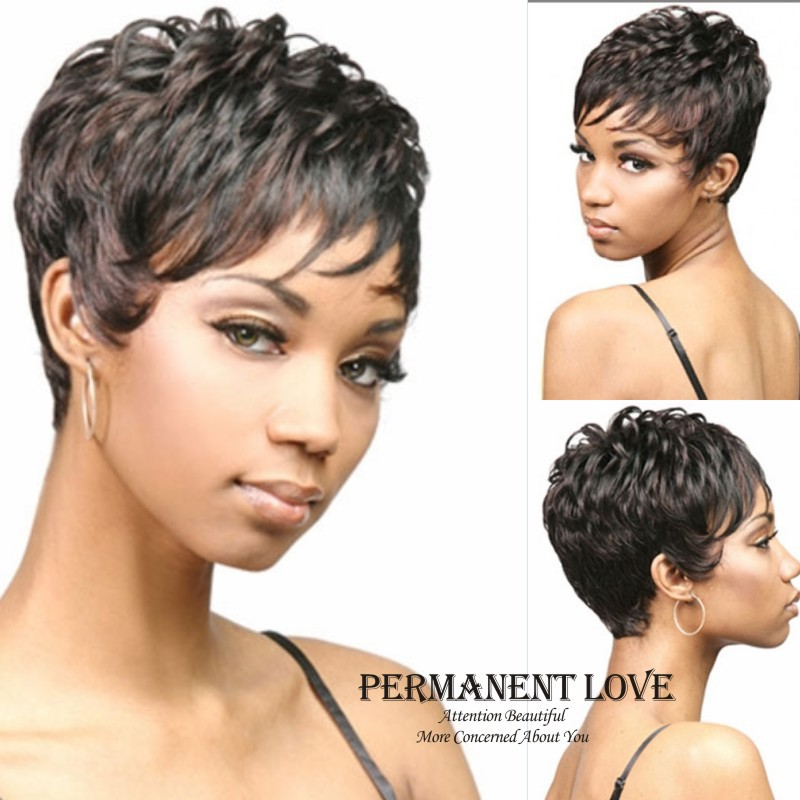 Synthetic Short Natural Black Curly Wig For Black Women