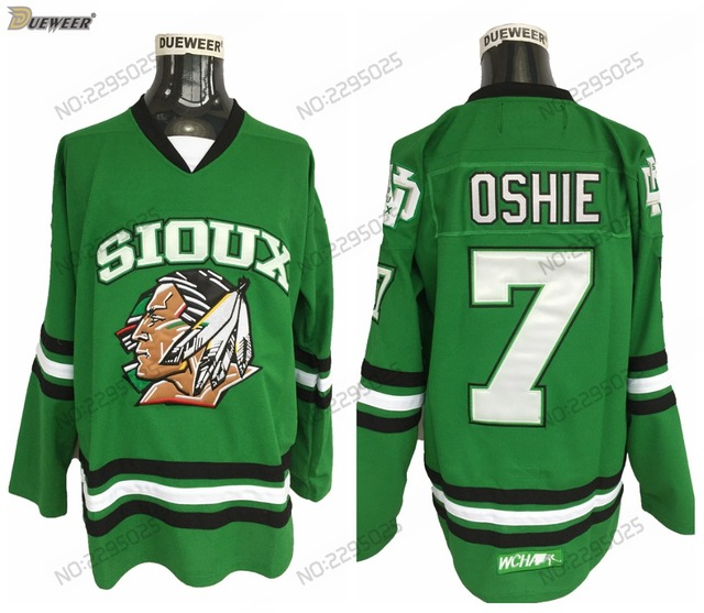 DUEWEER Mens Vintage 7 T.J. Oshie North Dakota Fighting Sioux College  Hockey Jerseys Cheap Green TJ Oshie Stitched Hockey Shirts 1f2bbf3252b